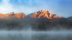 Beyond the fog: panoramic crop (1ns0mn1ac) Tags: patricialake rockiestrip jasper canada sunrise jaspernationalpark canadianrockies