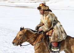 Horse and Eagle Hunter, as One (carfull...home from Mongolia) Tags: mongolia hunter horse rider kazakh winter eagle