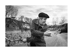 Handshake (Jan Dobrovsky) Tags: carpathians countryside leicaq encounter ukraine counrtylife people reallife blackandwhite outdoor monochrome portrait handshake document winter