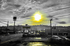 """There is one who remembers the way to your door: Life you may evade, but Death you shall not."" ―T.S. Eliot ☀️ (anokarina) Tags: foust chattanooga tennessee tn appleiphone6 colorsplash adobephotoshopexpress gold yellow sun clouds trees skyline parkinglot reflection perspective"