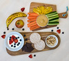 Healthy Snacks (Mister Oy) Tags: davegreen oyphotos ©oyphotos food fruit vegetables nikond850 nikon2470mmf28afs naturallight banana apple strawberry blueberry ricecakes chocolate nuts pistachio carrot pepper capsicum cucumber healthy eating product humous colour color colorful colourful yoghurt mix