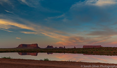 Monument Valley Sunset Reflection (sarahOphoto) Tags: america arizona colouds dusk gouldings indian landscape lodge monument nature navajo orange outdoors park red reflection rock sand sandstone sky states sunset tribal united usa utah valley view water canon 6d butte west east mitten merrick mesa clouds