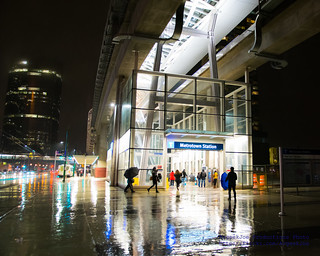 Metrotown Station at 9 PM on a Rainy January Friday