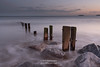 Youghal Strand 3-2-2018 (John Holmes (DAJH51)) Tags: bluehour breakers colour groynes old rocks sea sunset waves weathered whitewater winter wood