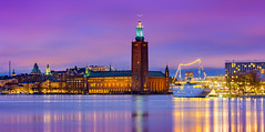 _MG_2930 - Stockholm City Hall in blue hour (AlexDROP) Tags: 2017 stockholm sweden travel longexposure architecture city urban night circpl canon6d ef241054lis best iconic panoramic skyline famous mustsee picturesque postcard europe color bluehour lake