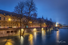 When the Seine overflows (marko.erman) Tags: paris france seine overflow flood water river city louvrepalace palaisdelouvre monument architecture illuminated lights reflections bluehour night longexposure trees beautiful outdoor nopeople pov wideangle sony