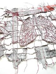 breathing the news (in expansion mode) (Ines Seidel) Tags: breathing lungs breath news newspaper paper fiberart sewing stitching machinestitching redthread space air red lunge anatomy nachrichten zeitung zeitungspapier words headlines text nähen