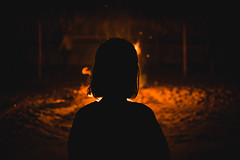 We're still young (GerardUntalan) Tags: bonfire fire silhouette friend girl chilling