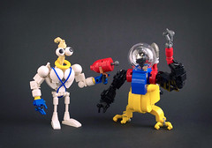Earthworm Jim & Psycrow (captainsmog) Tags: lego moc fun video game platform worm silly nonsense humor crow character brickbuilt