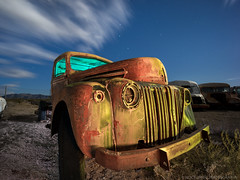 Be ready (Nocturnal Bob) Tags: owensvalley california ca abandoned pickup truck junk yard night light painting long exposure sony a7r voigtlander super wide heliar 15mm f45 aspherical iii lens vm protomachines radium led6