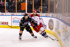 "Kansas City Mavericks vs. Allen Americans, February 24, 2018, Silverstein Eye Centers Arena, Independence, Missouri.  Photo: © John Howe / Howe Creative Photography, all rights reserved 2018 • <a style=""font-size:0.8em;"" href=""http://www.flickr.com/photos/134016632@N02/39790796494/"" target=""_blank"">View on Flickr</a>"