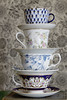 118in2018 #29 man made patterns (Karen Juliano) Tags: patterns china tea cups saucer stacked wallpaper print flower russian floral victoria blue purple
