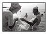 "Fishing in the Persian Gulf 1980 (Peter Dewhurst) Tags: sea ""persiangulf"" fishing uae net catch minaret mist hills beach nikonf2 film trix d76 analogue"