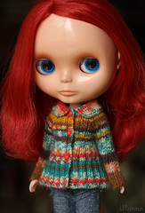 (Ulanna) Tags: blythe knitting handmade outfit clothes sweater cardigan pullover jersey jacket jumper rougenoir