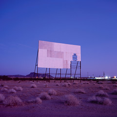 abandoned drive-in theater. parker, az. 2018. (eyetwist) Tags: eyetwistkevinballuff eyetwist sunset dusk desert abandoned drivein movie theater screen parker arizona mamiya 6mf 50mm fuji velvia 100 transparency chrome mamiya6mf mamiya50mmf4l fujivelvia100rvp rvp fujichrome ishootfilm ishootfuji analog analogue film emulsion square 6x6 mediumformat 120 filmexif iconla epsonv750pro lenstagger mojave mojavedesert lonely flat landscape barren peeling derelict ruin forgotten roadsideamerica americantypologies aftersunset gloaming purple violet magenta saturated cinema doublefeature tumbleweeds coloradoriver americana