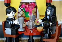 Dinner for Two (and a Half) (linda_lou2) Tags: spookygirl series12 spookyboy series16 365the2018edition 3652018 day38365 07feb18 38365 365toyproject lego minifigure minifig valentinesdaydinner valentinesset toy goth