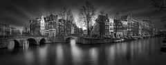 A Tale of the Past I - Keizersgracht Canal Amsterdam (Julia-Anna Gospodarou) Tags: amsterdam amsterdamclassicarchitecture amsterdamcanals keizersgrachtcanalamsterdam blackandwhite blackandwhitefineartphotography longexposure reflections waterscape amstelriver envisionography photographydrawing phtd sunset dusk keizersgrachtcanal