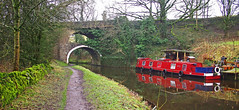 Big Lil and the Double Arch (wontolla1 (Septuagenarian)) Tags: east marton leeds liverpool canal a59 double arched arch arches narrow boat big lil red towpath yorkshire craven district walking walk hiking hike pennine way footpath olympus epm1 m43 micro four thirds lumix 14mm prime wide angle