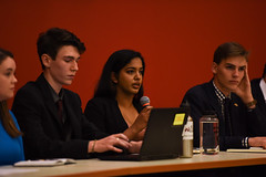 SGA Debates 2018-4 (dailycollegian) Tags: carolineoconnor sga debates hosted by collegian commonwealth honors college events hall event roots candidates for president vice trustee jiya nair