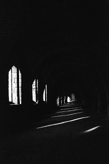 The cellarium, Fountains Abbey (Richie Rue) Tags: nikonf801s fomapan400 film analogue cellarium fountainsabbey ruins inside interior dark light windows arches analog chiaroscuro champion promicrol monochrome blackandwhite bnw bw yorkshire cistercian art fineart