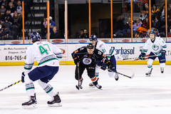 """Kansas City Mavericks vs. Florida Everblades, February 18, 2018, Silverstein Eye Centers Arena, Independence, Missouri.  Photo: © John Howe / Howe Creative Photography, all rights reserved 2018 • <a style=""""font-size:0.8em;"""" href=""""http://www.flickr.com/photos/134016632@N02/40387902831/"""" target=""""_blank"""">View on Flickr</a>"""