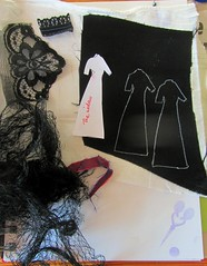 "Auditioning materials for ""The widow"" (scrappy annie) Tags: textileart fibreart fiberart miniaturedress"