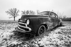 Old Car Waiting for Parts (Jonathan Tasler) Tags: snow ice chevy fleetline car cold tree plattecounty winter missouri blackandwhite