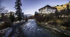 Beautiful Dzong next to the Paro river, Bhutan