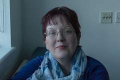 Pursed. (PatrickJamesB) Tags: hospital room london mom family visit visitation smile ginger red hair glasses woman person indoors people canon 80d portrait portraiture mum pose mother