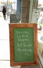 Love Please (Georgie_grrl) Tags: chalkboard sign positivemessage johnlennon peace love please stclairwest toronto ontario