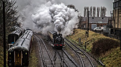 Rain, Steam and Speed (Peter Leigh50) Tags: jinty 47406 steam train railway track line smoke locomotive loughborough gcr great central railroad rain rail wet winter january