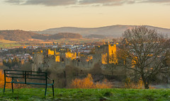 As The Sun Clears The  horizon (williamrandle) Tags: ludlow markettown earlymorning sunup sunshine sun shropshire england uk winter 2018 bench trees landscape histioric castle lowlight vista nikon 7100 tamron 70200vc g2 hills grass sky field golden hour