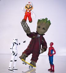 Who's the new guy? (jezbags) Tags: marvel marvelstudios starwars nintendo mario supermario stormtrooper trooper spiderman groot baby playing skateboard guardiansofthegalaxy macro macrophotography macrodreams canon canon80d 80d 100mm toy toys actionfigure bandai shfiguarts hottoys sideshow