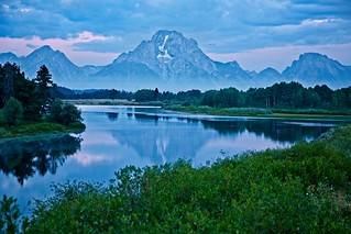 Grand Teton from Oxbow Bend Blue Hour
