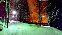 Two roads (sakarip) Tags: sakarip winter finland evening night lights forest path alley trees snowcovered kerava colors sky colorfulsky trafficsign