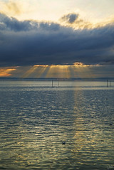 Lightrays over Lake Constance (johaennesy) Tags: bodensee badenwürttemberg germany friedrichshafen godrays lightrays light clouds pentaxian sun vertical landscape opensourcesoftware gimp rawtherapee