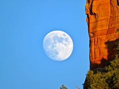 Moon with Castle Rock   (from the archives) (morroelsie) Tags: redrock sunset sedona arizona castlerock moonnearcliff moon