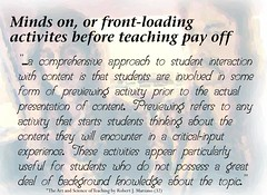Educational Postcard: Minds on, or front-loading activities before teaching pay off (Ken Whytock) Tags: mindson frontloading teaching comprehensive approach student interaction content previewing activity prior actual presentation teach encounter criticalinput experience background knowledge topic