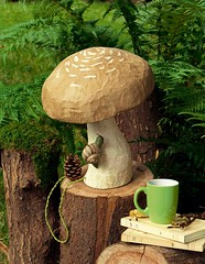 Papier-Mâché Mushroom Lamp (Heath & the B.L.T. boys) Tags: mushroom fungus toadstool stump snail tablelamp fern moss papiermâché