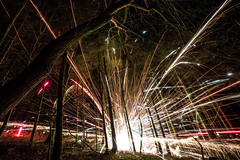 Forrest Rockets (Digital_hh) Tags: firework wood forrest explosion creative slow shutter explore canon 5d mark iii camranger 1635 speed night light trail photography