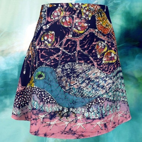 Excited to share the latest addition to my #etsy shop: Magical Skirt - Batik Birds Flare Skirt http://etsy.me/2o4dKvP. #batik skirt #magical Birds #jeweledwings #amityfarmbatik