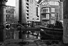 Beyond Irwell Lies Modernity (Geoff France) Tags: canal waterway mono monochrome landscape urban urbanlandscape blackandwhite barge water appartments manchester canalbasin
