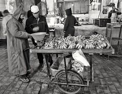 Bananas seller (radimersky) Tags: bananasseller trade souk bazar bazaar morocco maroko fes fez people ludzie samsung7s smg935f oldtown medina statemiasto travelphotography travel streetphotography street ulica blackandwhite blackwhite czarnobiałe monochrome bw candid