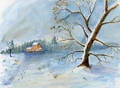 dans la neige (ybipbip) Tags: aquarelle aquarell akvarell watercolor watercolour paint painting pintura paysage landscape