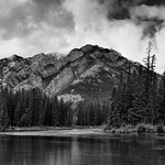 Mount Norquay and a Setting Along the Banks of the Bow River (Black & White) thumbnail