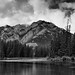 Mount Norquay and a Setting Along the Banks of the Bow River (Black & White)