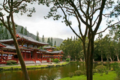 Byodo-In Temple Digital Painting (randyherring) Tags: 50thstate hawaii honolulu oahu us architecture building calm cloud cultural daytime garden island landmark landscape lush mist mountain mountains nature outdoor park peaceful pond quiet red relax replica scenic shrine sightseeing spiritual temple tourism tranquil travel travelling tree trees tropical vacation valley vegetation water