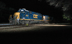 Nighttime 40 (weshendrix) Tags: csx abbeville subdivision atlanta division bogart georgia ga athens train railfan railfanning railroad railroading rail freight mow maintenance way emd sd402 standard cab diesel engine locomotive vehicle outdoor winter night photography nighttime