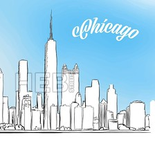 Sketch of Chicago, Illinois, USA (Hebstreits) Tags: america american architecture background building business chicago city cityscape drawing drawn engraving hand headline highway illustration isolated landmark landscape line metropolis metropolitan office panorama pencil scraper sightseeing sketch skyline skyscraper space travel usa vector view