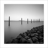 Essence IV (Frank Hoogeboom) Tags: netherlands holland zeeland scherpenisse nederland blackandwhite blackwhite monochrome monochromatic bnw bw square water sea ocean lake river poles stacks rocks boulders harbor marina sunset fineart art longexposure essence